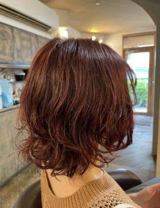 赤毛のボブパーマ♥️